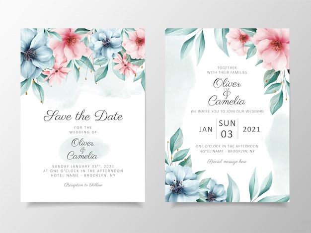 Piękne kwiaty akwarela ślub szablon zaproszenia karty zestaw.