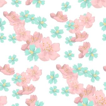 Piękne kwiaty bez szwu tupot