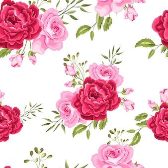Piękne kwiaty i liście bez szwu