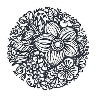 Piękne kwiaty i rośliny w kole. ręcznie rysowane w stylu szkicu