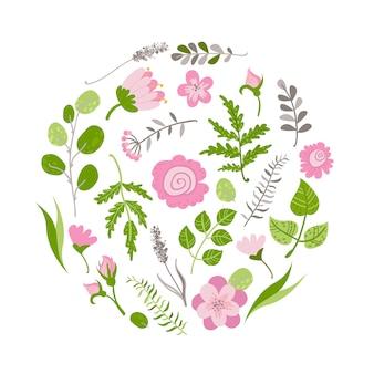 Piękne kwiaty i rośliny w kole.