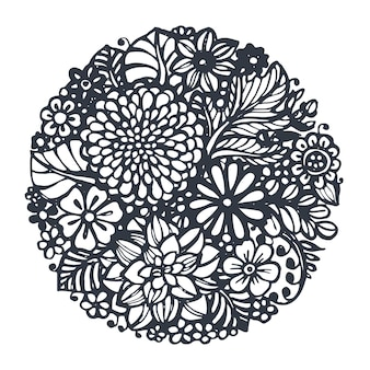 Piękne kwiaty i rośliny wektorowe w okręgu. ręcznie rysowane ilustracji wektorowych w stylu doodle szkic
