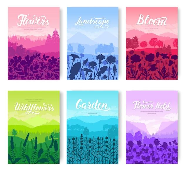 Piękne kwiaty na zestaw kart na zboczu góry. lato natura szablon flyear, banery.