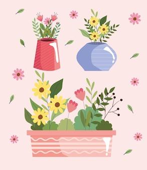 Piękne kwiaty ogród w wazonach i projekt ilustracji wektorowych garnka