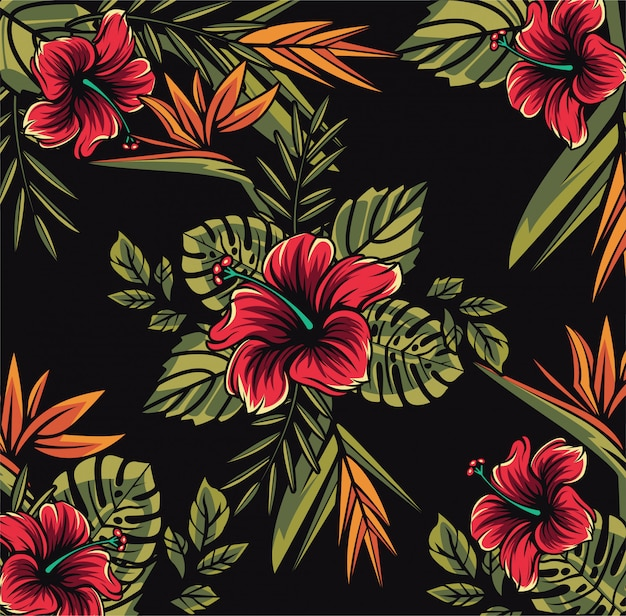 Piękne kwiaty tropikalne bezszwowe tapeta wzór