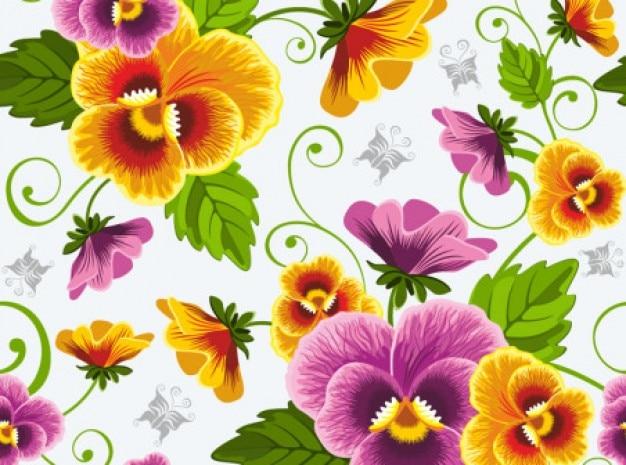 Piękne kwiaty wektor tło zestaw