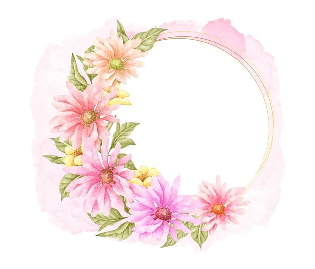 Piękne kwitnące wiosenne kwiaty i liście ramki