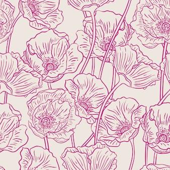 Piękne lato natura tło z fioletowymi makami