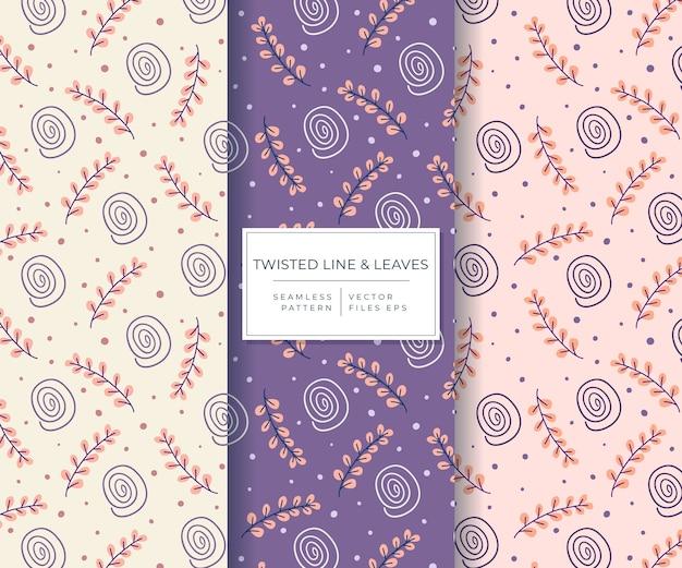 Piękne liście i skręcona linia z ręcznie rysowane stylu wzór