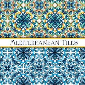 Piękne malowane śródziemnomorskie tradycyjne płytki