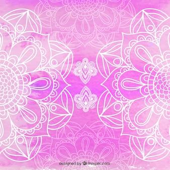 Piękne mandala różowym tle