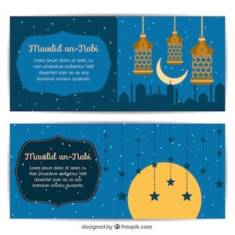 Piękne mawlid transparenty z latarniami i gwiazd