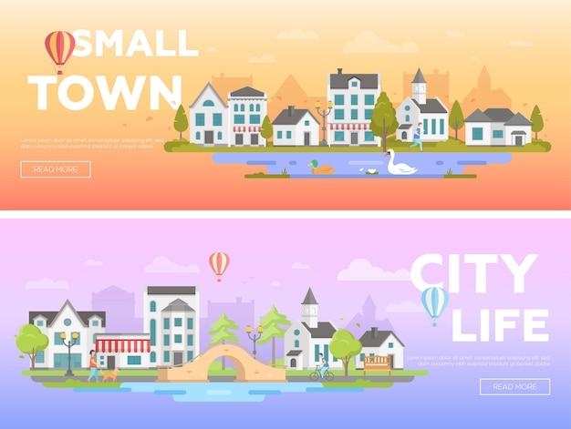 Piękne miasto - zestaw nowoczesnych ilustracji wektorowych płaski z miejscem na tekst na pomarańczowym i niebieskim tle. dwa warianty krajobrazu miejskiego z ładnymi budynkami, aktywnymi ludźmi, kościołem, stawem, mostem