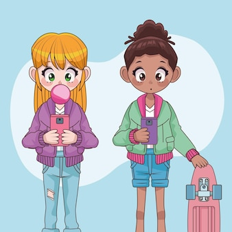 Piękne międzyrasowe nastolatki para ilustracji postaci z anime