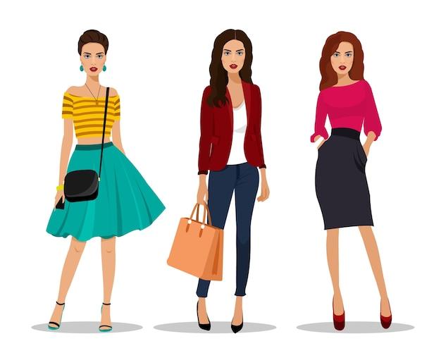 Piękne młode kobiety w modnych ubraniach. szczegółowe postacie kobiet z akcesoriami. ilustracja.