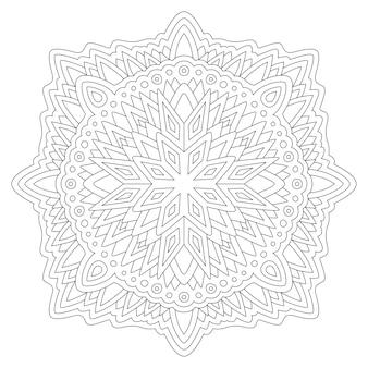 Piękne monochromatyczne liniowe do kolorowania książki z mandalą na białym tle.