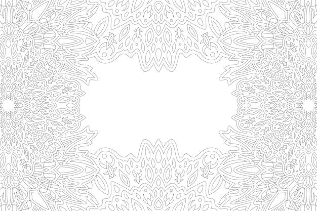 Piękne monochromatyczne tło wektor dla dorosłych kolorowanka z abstrakcyjnym obramowaniem fantasy i białą kopią miejsca