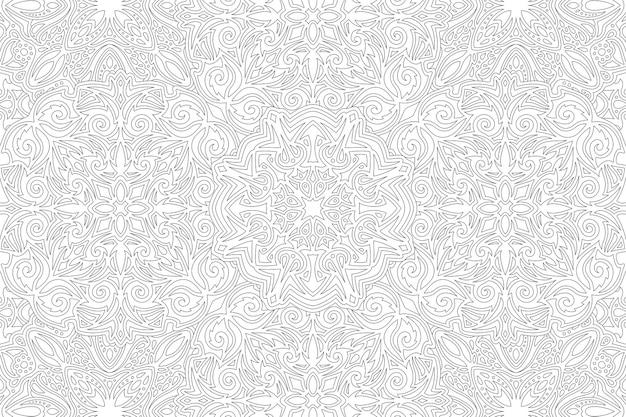 Piękne monochromatyczne tło wektor dla dorosłych kolorowanka z abstrakcyjnym vintage liniowym wzorem