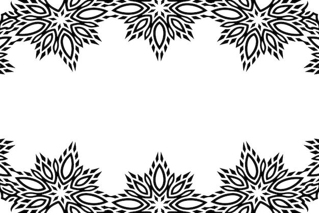 Piękne monochromatyczne tło wektorowe z abstrakcyjną czarną obwódką i białą kopią miejsca