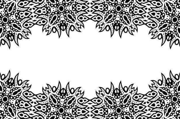 Piękne monochromatyczne tło wektorowe z abstrakcyjną czarną obwódką plemienną i białą kopią miejsca