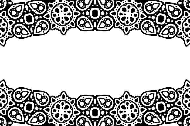Piękne monochromatyczne tło wektorowe z czarnym wzorem plemiennym i białą przestrzenią kopii