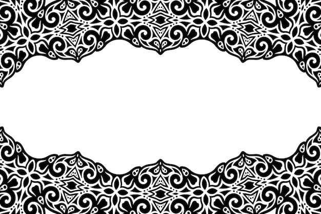 Piękne monochromatyczne tło z abstrakcyjnym czarnym wzorem vintage i białą kopią miejsca