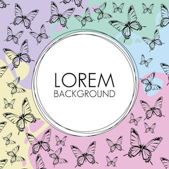Piękne motyle ozdobny wzór tła z okrągłą ramką.