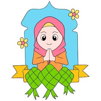 Piękne muzułmańskie kobiety noszące hidżab witają miesiąc kultu ramadan, ilustracja wektorowa sztuki. doodle ikona obrazu kawaii.