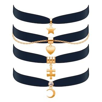 Piękne naszyjniki choker zestaw ilustracji. biżuteria ze złotymi zawieszkami i łańcuszkiem. ilustracja. dobre dla sklepu z biżuterią z modą kosmetyczną.