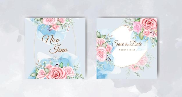 Piękne niebieskie i miękkie różowe róże akwarela zaproszenie na ślub