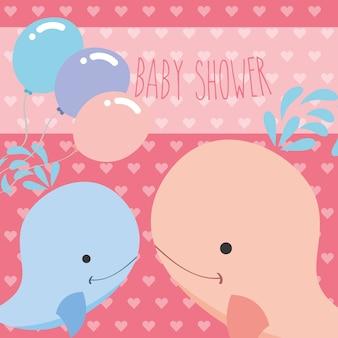 Piękne niebieskie i różowe balony wielorybów karta baby shower
