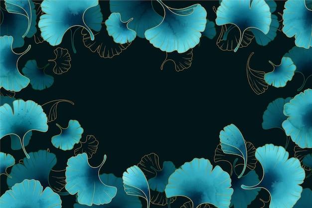 Piękne niebieskie tło gradientowe kwiaty