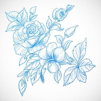 Piękne niebieskie tło karty kwiatowy