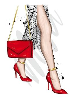 Piękne nogi w modnych butach na wysokim obcasie.