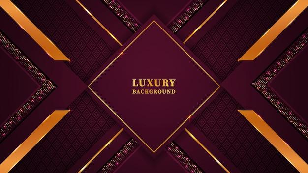 Piękne, nowoczesne luksusowe tło z geometrycznymi kształtami, ornamentami i światłami w głębokim kolorze magenty i złotym kolorze