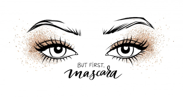 Piękne oczy z długimi czarnymi rzęsami i cień do powiek golden glitter.
