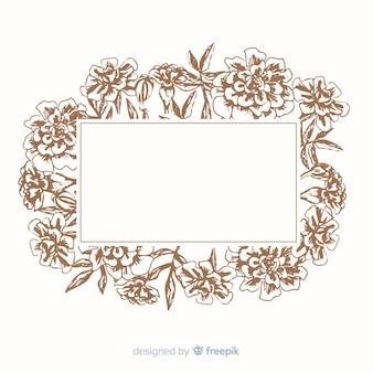 Piękne odcienie sepii na pustą ramkę w kwiaty