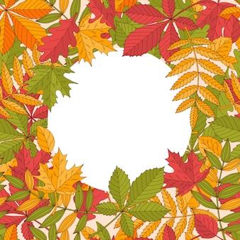 Piękne okrągłe jasne ramki z kolorowych jesiennych liści różnych drzew