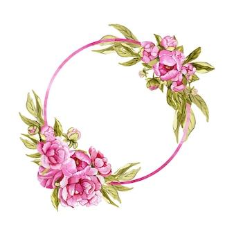 Piękne okrągłe ramki akwarela z różowe kwiaty