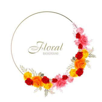 Piękne ozdobne kolorowe wesele kwiatowy rama