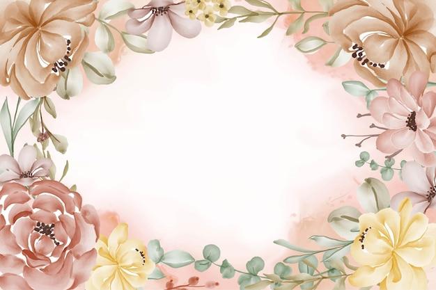 Piękne ozdobne kwiaty akwarela rama