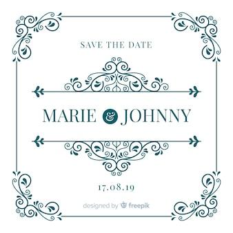 Piękne ozdobne zapisać datę ślubu zaproszenia