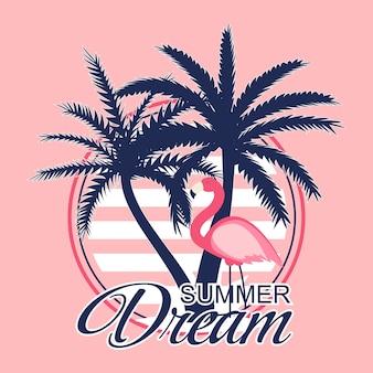 Piękne palmy i flamingo tło