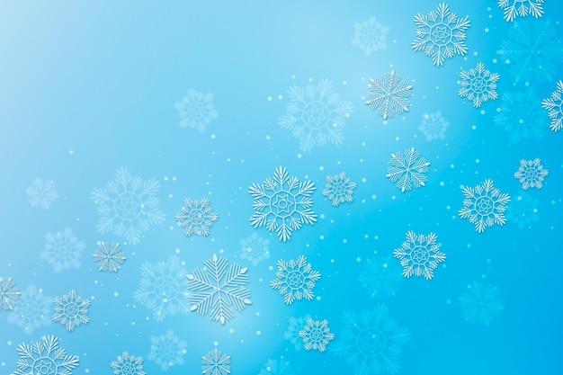 Piękne płatki śniegu w stylu papierowym