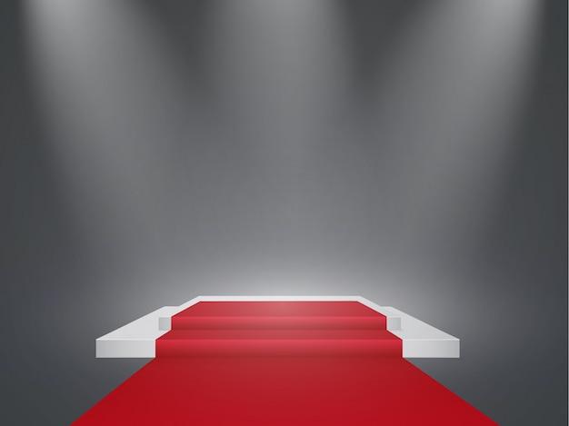 Piękne podium na ciemnym tle z napisem. zwycięzcy basenu z jasnymi światłami. światło. oświetlenie. ilustracja.