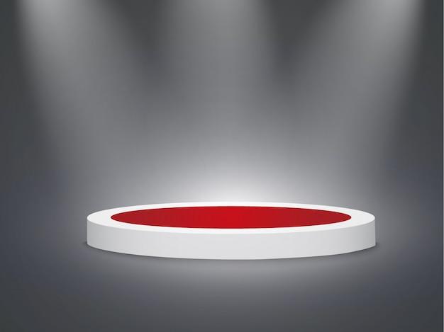 Piękne podium na ciemnym tle z napisem. zwycięzcy basenu z jasnymi światłami. światło. oświetlenie.