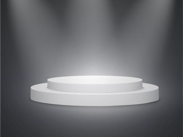 Piękne podium na ciemnym tle z napisem. zwycięzcy basenu z jasnymi światłami. światło.