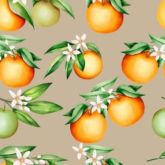 Piękne pomarańczowe owoce i liście wzór