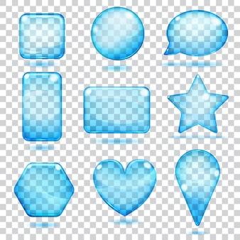 Piękne przezroczyste niebieskie kształty wykonane ze szkła z odblaskami i cieniami