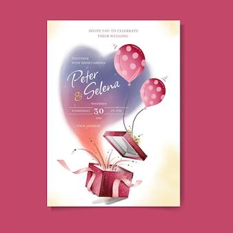 Piękne pudełko z balonem akwarela zaproszenie na ślub wektor premium